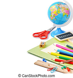 Colorful school supplies isolated over white