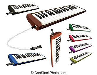 A Set of Musical Melodica on White Background - Music...