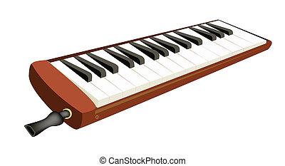 egy, zenés, Melodica, elszigetelt, fehér,...