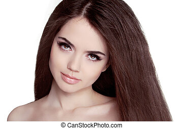 Beautiful Brunette Woman Portrait with healthy Hair Clear...