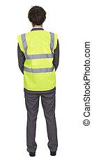 il portare, giacca, sicurezza, uomo