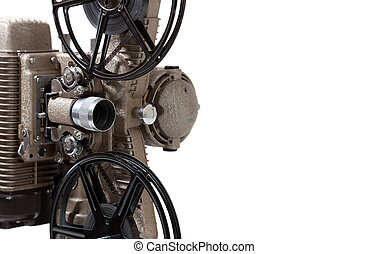 Close-up of a vintage movie projector on a white background...