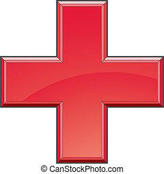 primeiro, ajuda, médico, crucifixos