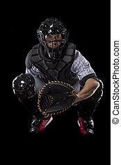 Catcher Player - Baseball Player, catcher waiting a ball, on...