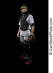 Catcher Player - Baseball Player, catcher, on a black...