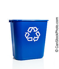 Blue recylcing bin on white