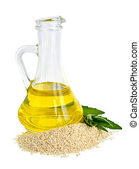 Sesame oil oil in a glass jug