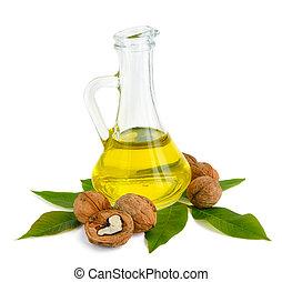 Walnut oil in a glass jug.
