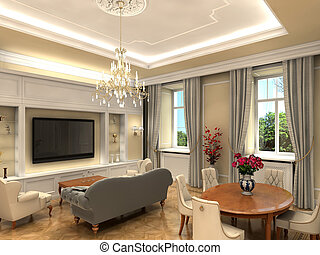 Living room - rendering of a luxurious classic living room