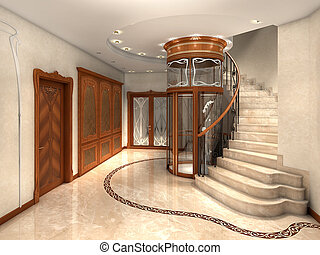 Entrance hall - rendering of an art nouveau