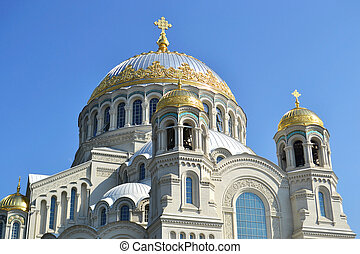Naval cathedral in Kronstadt at sunny spring day,...