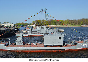 Russian military ships in the port of Kronshtadt, Russia