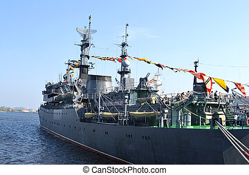 Russian military ship in the port of Kronshtadt, Russia