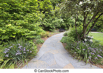 Slate Garden Path with Flowering Plants and Trees - Slate...