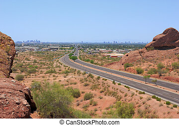 Road to Phoenix Downtown, AZ - Road to downtown of Phoenix...