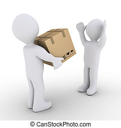 Person is giving to another a sealed carton box - 3d person...
