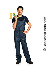 Repairman Arab nationality in the construction overalls on a...