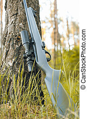 Rifle with telescopic sight in outdoor