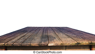 old wood table isolated white