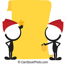 stick man christmas background - two stick men with...