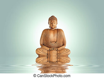 Buddha Tranquility - Buddha in meditation with reflection...