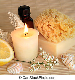 Candlelight Spa Products - Spa products lit by a candle,...