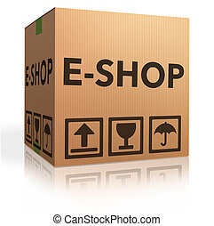 e shop - web e-shop icon online internet shopping concept...