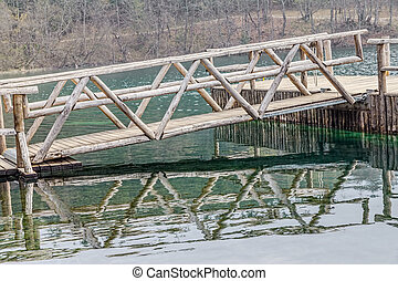 Wooden drawbridge on Plitvice lakes