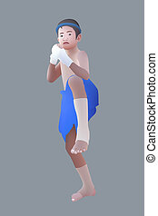 Muay Thai or Thai boxing boy - Illustration of Muay Thai or...