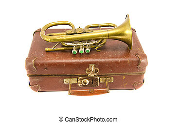 old suitcase and vintage brass musical instrument