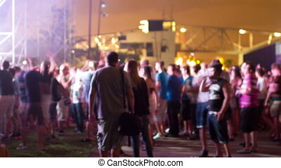 timelapse of the audience at a dance music festival in...