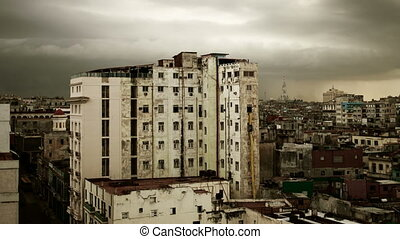 dramatic timelapse of the havana skyline cuba with a moody...
