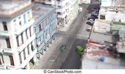 tilt and shift timelapse looking down onto the street in havana, cuba