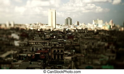 timelapse of the havana skyline cuba, cating shadows as the...