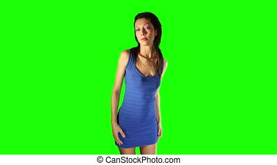 sexy disco dancer against green screen for easy chroma keying