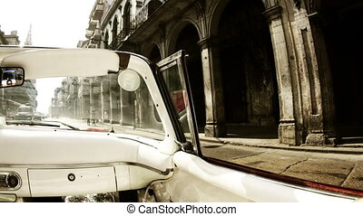 time-lapse of a havana street scene shot from a classic convertible car, cuba