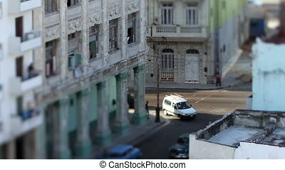 tilt and shift view of a street scene in havana, cuba