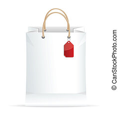 Vector paper white shopping bag isolated