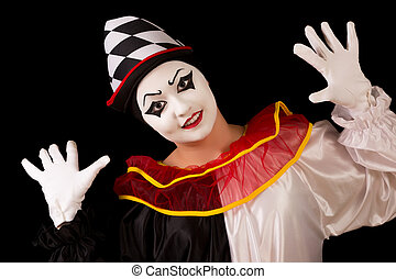Happy Pierrot - Isolated portrait of a funny happy Pierrot...