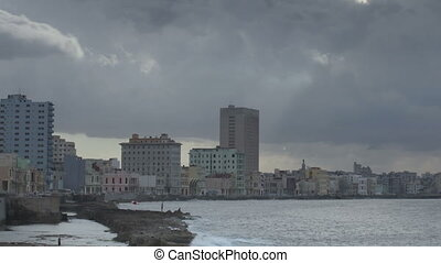 timelapse of the coastal malecon road,havana, cuba