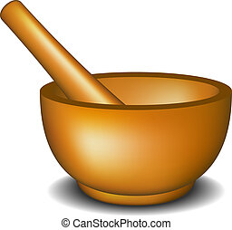 Mortar and pestle in wooden design on white background
