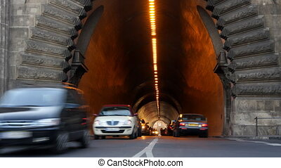 rushhour traffic in tunnel in budapest