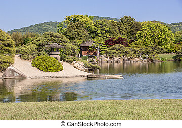 Korakuen is the famous traditional Japanese landscape garden...