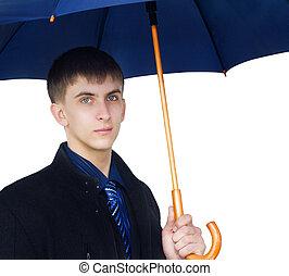 Closeup man holding blue umbrella