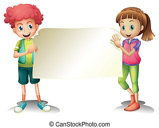 Two kids holding an empty signage - Illustration of the two...