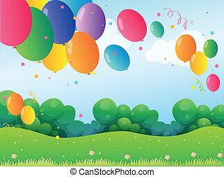 Colorful balloons at the hill - Illustration of the colorful...