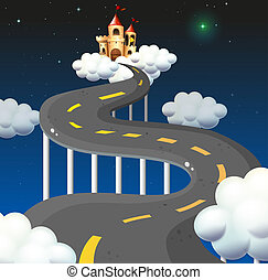 A curve road going to the castle - Illustration of a curve...