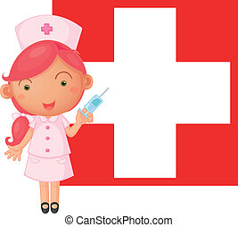 A nurse with an injection in front of the Switzerland flag -...