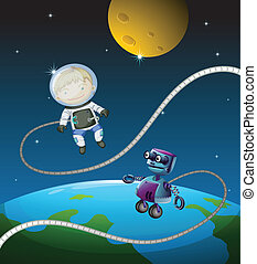 An astronaut and a robot - Illustration of an astronaut and...