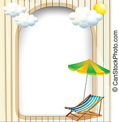 Illustration of an empty entrance template with an umbrella...